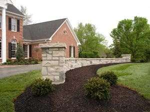 closeup of the retaining wall in the front yard of this Chesterfield home